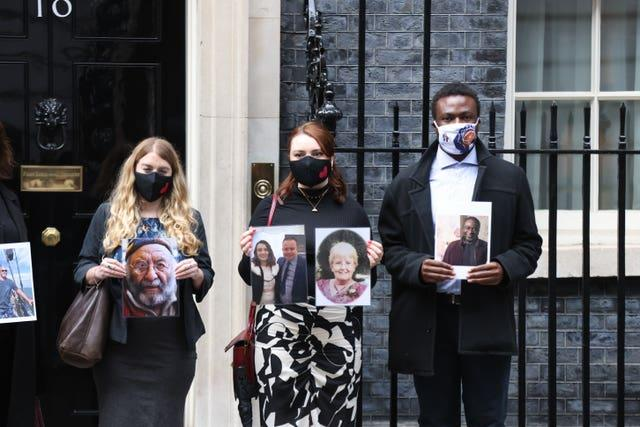 Bereaved families at 10 Downing Street
