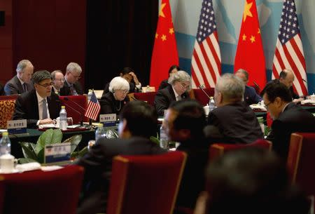 U.S. Treasury Secretary Jack Lew speaks during the 6th China-U.S. Security & Economic Dialogue (S&ED) with Chinese Vice Premier Wang Yang at the Diaoyutai State Guesthouse in Beijing