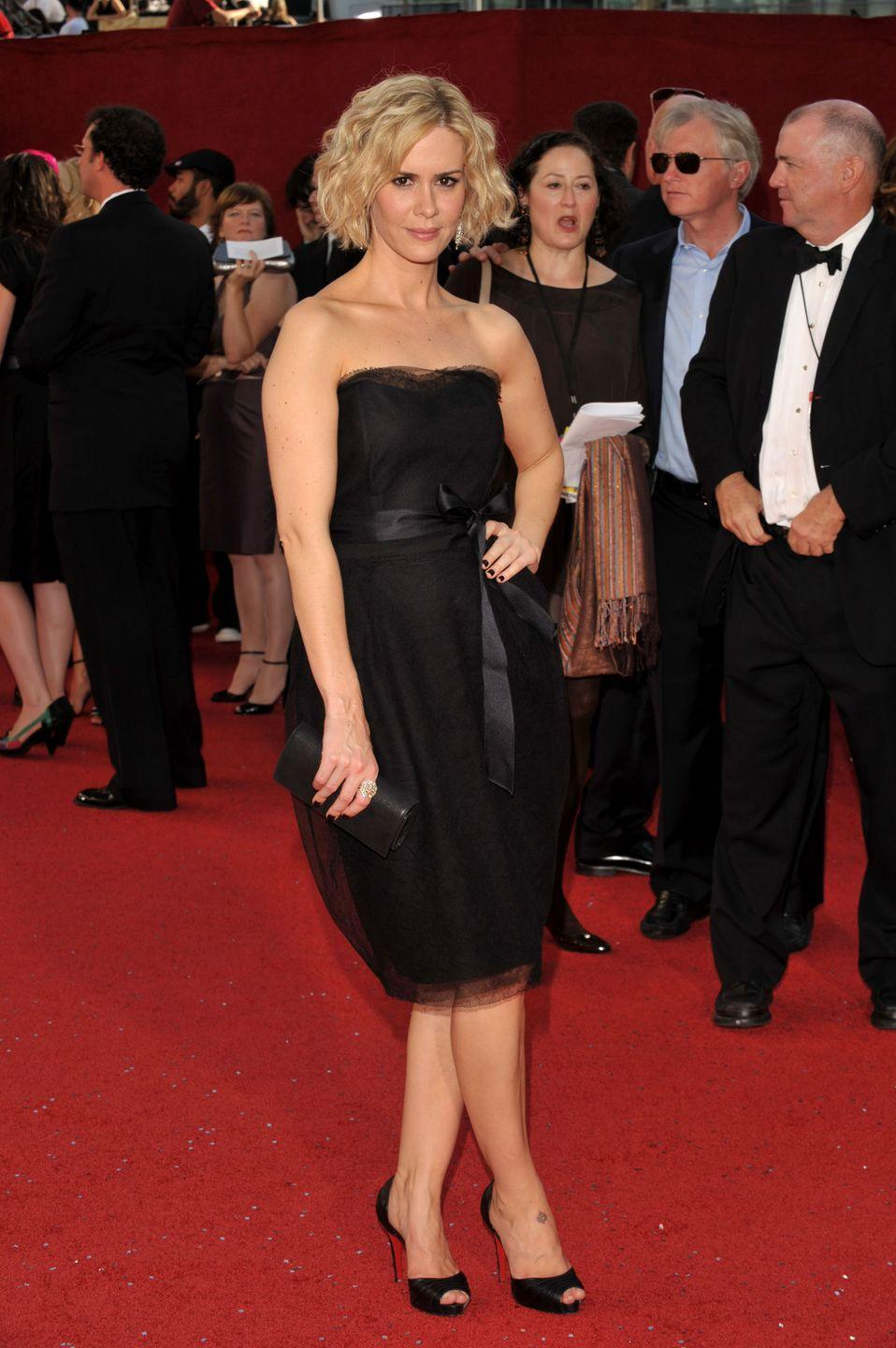 <p>Paulson killed it in a LBD at the 2008 Emmy Awards.</p>