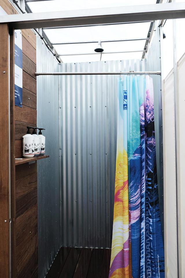 The inside of a shower at Camp Rockaway (Photo by Lyne Lucien)