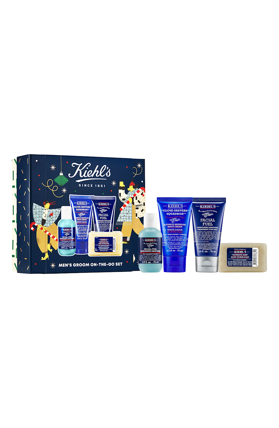 """<h3><strong><a href=""""https://www.nordstrom.com/s/kiehls-since-1851-mens-groom-on-the-go-set-usd-55-value/5749009"""" rel=""""nofollow noopener"""" target=""""_blank"""" data-ylk=""""slk:Kiehl's"""" class=""""link rapid-noclick-resp"""">Kiehl's</a></strong><a href=""""https://www.nordstrom.com/s/kiehls-since-1851-mens-groom-on-the-go-set-usd-55-value/5749009"""" rel=""""nofollow noopener"""" target=""""_blank"""" data-ylk=""""slk:Men's Groom-On-The-Go Set"""" class=""""link rapid-noclick-resp""""> Men's Groom-On-The-Go Set</a></h3><br>If your hubs hasn't washed his face with anything other than lukewarm water and a bar of soap from the shower in a decade, then giving him the gift of Kiehl's is the move. Snag this skin-care starter kit, which includes not just a face wash, but body scrub soap, shave cream, and moisturizer.<br><br><strong>Kiehl's Since 1851</strong> Men's Groom-On-The-Go Set, $, available at <a href=""""https://go.skimresources.com/?id=30283X879131&url=https%3A%2F%2Fwww.nordstrom.com%2Fs%2Fkiehls-since-1851-mens-groom-on-the-go-set-usd-55-value%2F5749009"""" rel=""""nofollow noopener"""" target=""""_blank"""" data-ylk=""""slk:Nordstrom"""" class=""""link rapid-noclick-resp"""">Nordstrom</a>"""