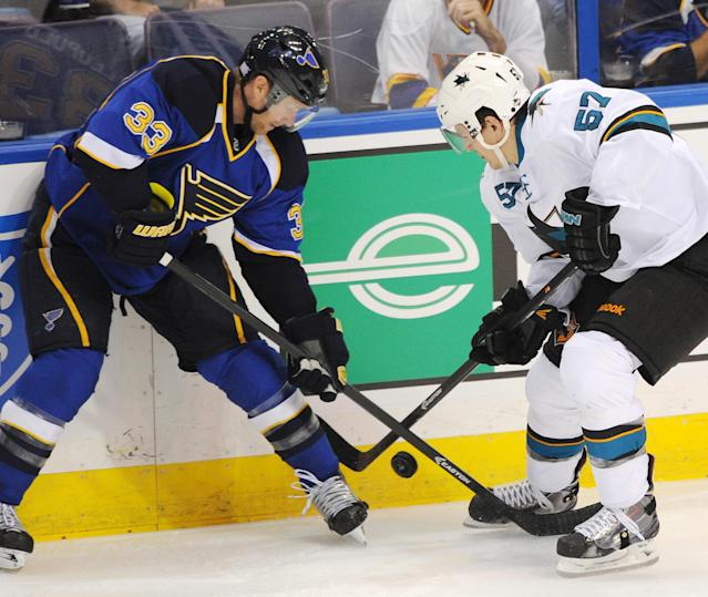 St. Louis Blues' Jordan Leopold (33) and San Jose Sharks' Tommy Wingels (57) vie for the puck during the second period of an NHL hockey game Tuesday, Oct. 15, 2013, in St. Louis. (AP Photo/Bill Boyce)