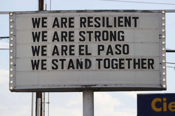 PHOTO: A sign is posted near the scene of a mass shooting at a Walmart which left at least 20 people dead, Aug. 4, 2019 in El Paso, Texas.  (Mario Tama/Getty Images)