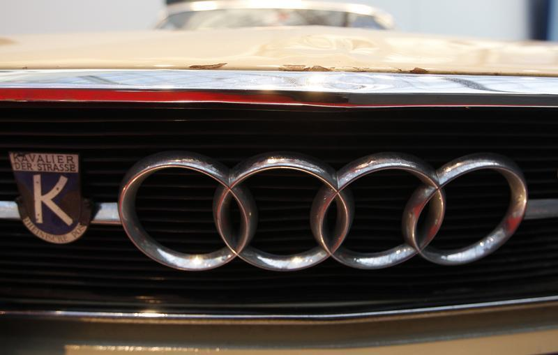 The logo of a Audi car is pictured during a press presentation prior to the Essen Motor Show in Essen