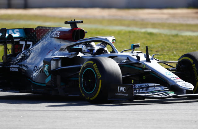 Mercedes driver Valtteri Bottas of Finland steers his car during the Formula One pre-season testing session at the Barcelona Catalunya racetrack in Montmelo, outside Barcelona, Spain, Thursday, Feb. 27, 2020. (AP Photo/Joan Monfort)
