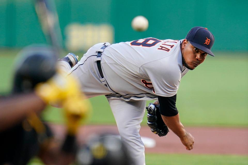 Detroit Tigers starting pitcher Wily Peralta delivers during the first inning of a baseball game against the Pittsburgh Pirates in Pittsburgh, Tuesday, Sept. 7, 2021.