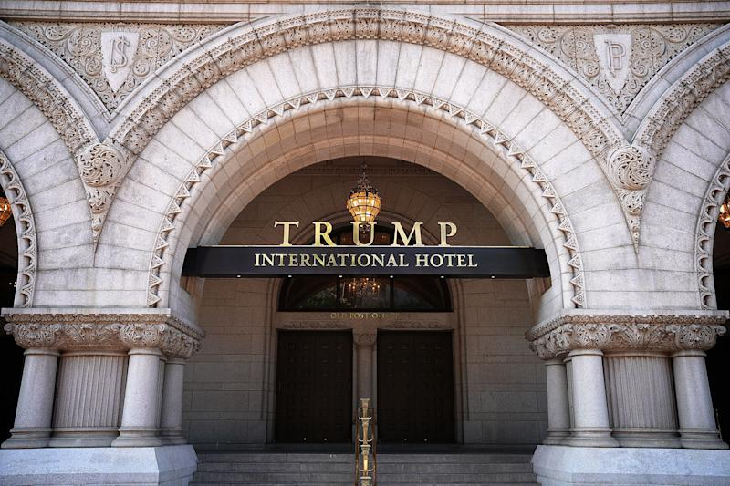 The Trump International Hotel, located blocks from the White House, has become both a tourist attraction in the nation's capital and also a symbol of President Trump's intermingling of business and politics.