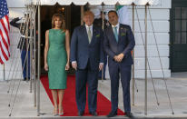 To mark St Patrick's Day, the First Lady celebrated in a vivid green Brandon Maxwell dress. On the holiday, the presidential couple welcomed Ireland's prime minister Leo Varadkar. [Photo: Getty]