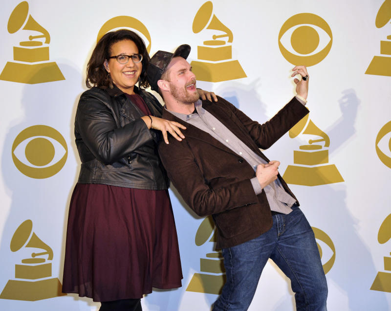 FILE - In a  Wednesday, Dec. 5, 2012 file photo, Brittany Howard, left,  and Steve Johnson of Alabama Shakes pose for a photo backstage at the Grammy Nominations Concert Live!, in Nashville, Tenn. Police say Howard was robbed at gunpoint Sunday night, Dec. 16, 2012 in east Nashville, but was unharmed.  (Photo by Donn Jones/Invision/AP, File)