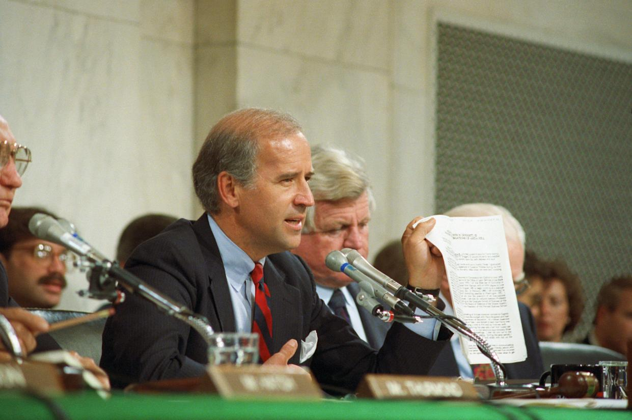Senate Judiciary Committee Chairman Joseph Biden questioning Anita Hill about her allegations against Judge Clarence Thomas, October 1991. (Photo: Bettmann Archive via Getty Images)