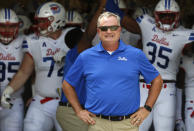SMU head coach Sonny Dykes waits with his team before playing TCU in an NCAA college football game Saturday, Sept. 21, 2019, in Fort Worth, Texas. (AP Photo/Ron Jenkins)
