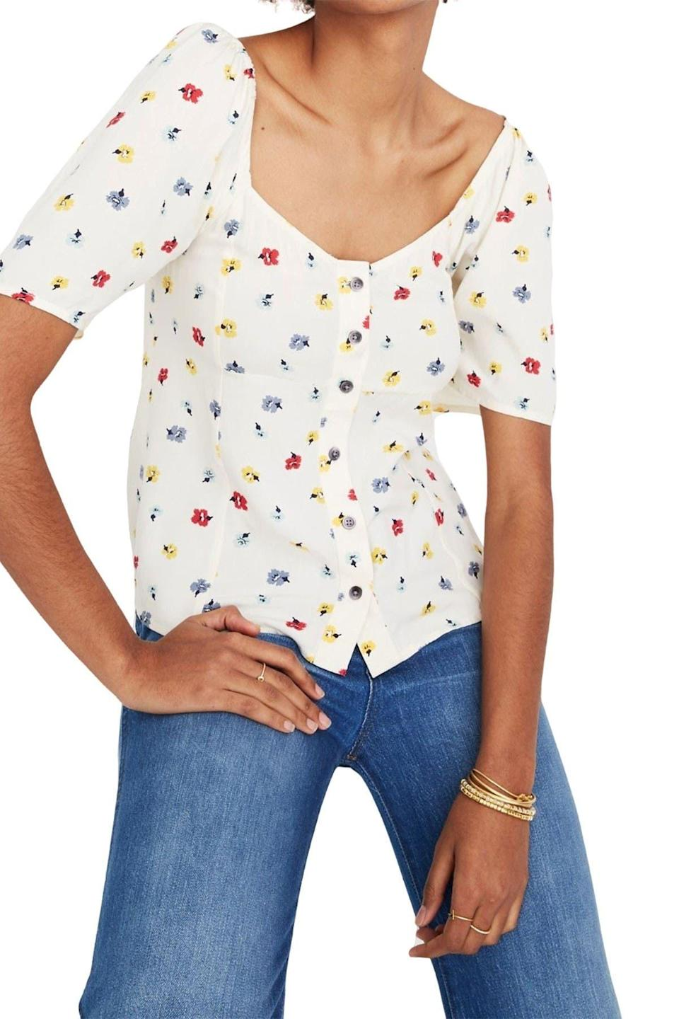 "<br><br><strong>Madewell</strong> Ember Floral Button Front Blouse, $, available at <a href=""https://go.skimresources.com/?id=30283X879131&url=https%3A%2F%2Fwww.nordstromrack.com%2Fs%2Fmadewell-ember-floral-button-front-blouse%2Fn3229806"" rel=""nofollow noopener"" target=""_blank"" data-ylk=""slk:Nordstrom Rack"" class=""link rapid-noclick-resp"">Nordstrom Rack</a>"