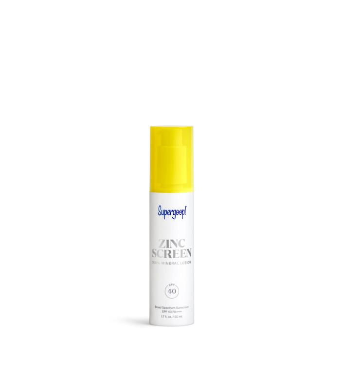"""Rogers is also a fan of Supergoop Zinc Sunscreen, a 100% mineral SPF 40, non-nano zinc oxide sunscreen. The pink-hued lotion is infused with ingredients like winter cherry, coconut fruit and blueberry extracts to help nourish your skin.&lt;br&gt;&lt;br&gt;&nbsp;<a href=""""https://supergoop.com/products/zincscreen-100-mineral-lotion"""" rel=""""nofollow noopener"""" target=""""_blank"""" data-ylk=""""slk:Supergoop Zinc Sunscreen"""" class=""""link rapid-noclick-resp""""><strong>Supergoop Zinc Sunscreen</strong></a><strong>, $42</strong>"""