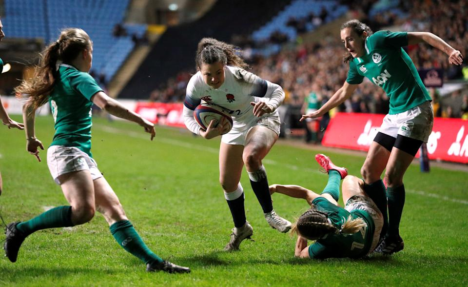 England's Ellie Kildunne breaks through to score their fourth try (Action Images/John Sibley)