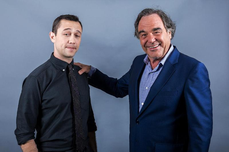 "In this Aug. 28, 2016 photo, Oliver Stone, right, and Joseph Gordon-Levitt pose for a portrait in promotion of ""Snowden"" in Los Angeles. (Photo by Willy Sanjuan/Invision/AP)"