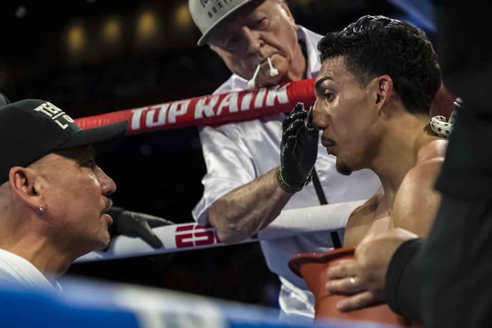 Teofimo Lopez in his corner during his lightweight IBF title elimination fight against Masayoshi Nakatani (not pictured) at The Theater at MGM National Harbor on July 19, 2019 in Oxon Hill, Maryland. (Photo by Scott Taetsch/Getty Images)