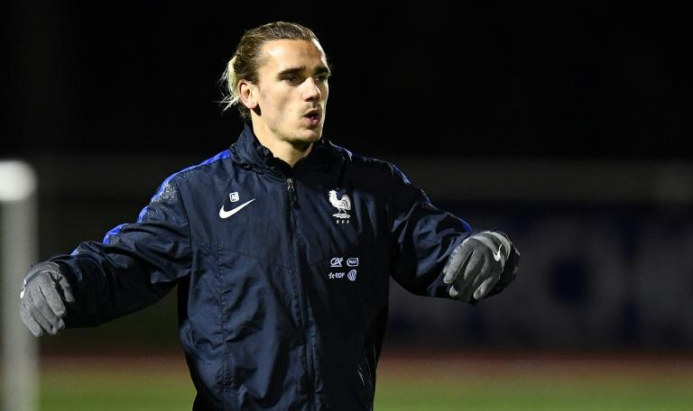 France's forward Antoine Griezmann reacts at the end of a training session in Clairefontaine-en-Yvelines near Paris on November 7, 2017  as part of the team's preparation for the friendly football match against Wales and Germany