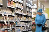 <p>Just the Queen pondering human existence in the specialty foods aisle, as one does.</p>