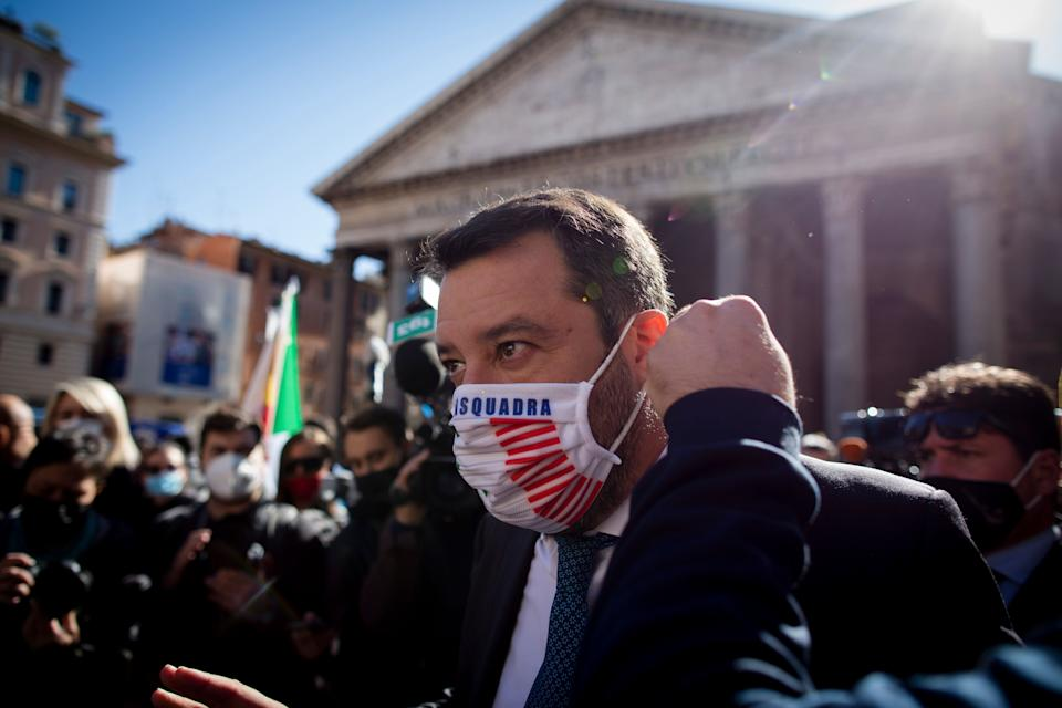 Head of the far-right Lega party and Italian senator Matteo Salvini (C) is seen during a protest of restaurants owners and chefs at Pantheon Square against the measures implemented to stop the spread the coronavirus Covid-19 pandemic in Rome, on October 28, 2020.Thousands of Italians went to the streets after Italian Prime Minister Giuseppe Conte announced new nationwide Covid-19 restrictions. (Photo by Christian Minelli/NurPhoto via Getty Images) (Photo: NurPhoto via Getty Images)