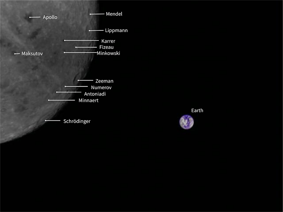 An annotated image from China's Longjiang-2 microsatellite shows the names of the craters on the far side of the moon. <cite>MingChuan Wei/Harbin Institute of Technology/Tammo Jan Dijkema/CAMRAS/DK5LA</cite>