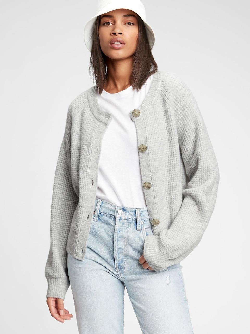 <p>This <span>Gap Textured Cardigan</span> ($60) is perfect paired over a yellow sundress and black opaque tights! Brighten up a winter look with layers!</p>