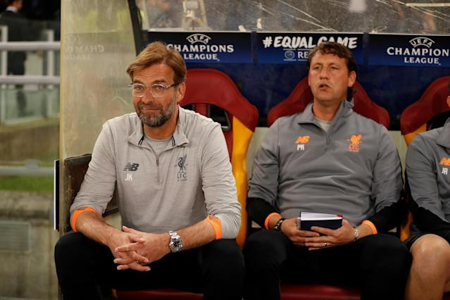 Soccer Football - Champions League Semi Final Second Leg - AS Roma v Liverpool - Stadio Olimpico, Rome, Italy - May 2, 2018 Liverpool manager Juergen Klopp and assistant coach Peter Krawietz before the match Action Images via Reuters/John Sibley