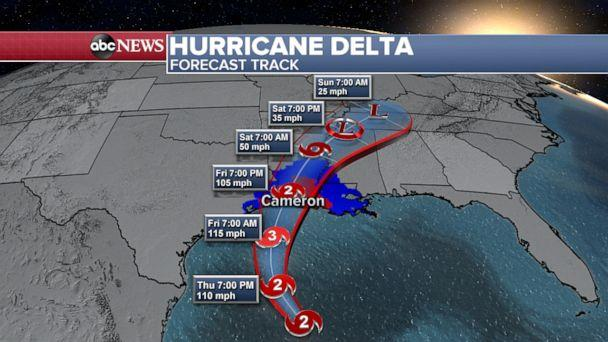 PHOTO: Hurricane Delta forecast track, Oct. 8, 2020. (ABC News)