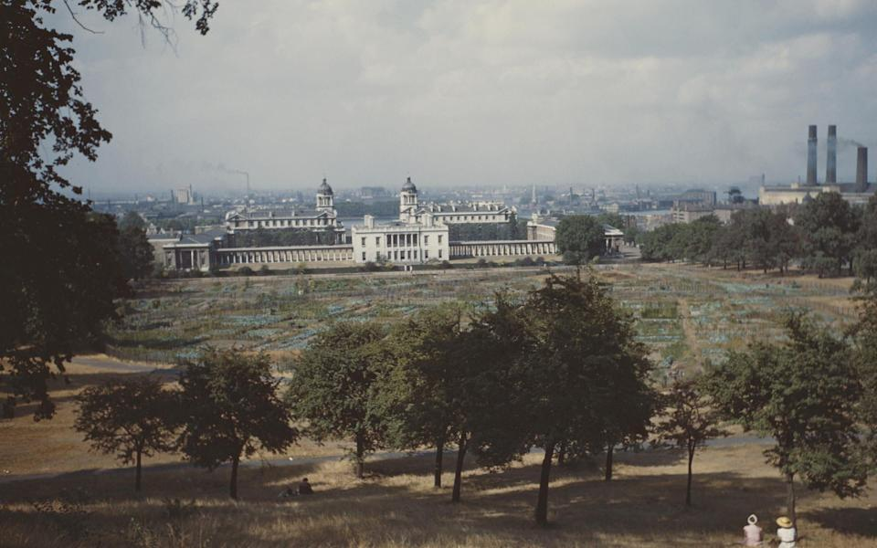 The Old Royal Naval College in Greenwich, South East London, seen from the top of the hill in Greenwich Park, circa 1965. (Photo by Raymond Kleboe Collection/Getty Images)  - Getty
