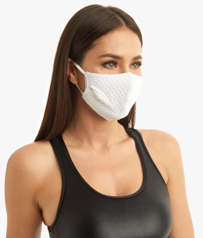 "This athletic face mask is made with antimicrobial performance fabric and stretchy Lycra for a secure fit. <a href=""https://fave.co/3i9weoZ"" rel=""nofollow noopener"" target=""_blank"" data-ylk=""slk:Find it for $20 at Koral"" class=""link rapid-noclick-resp"">Find it for $20 at Koral</a>."