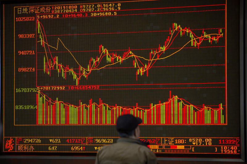 In this Wednesday, Oct. 30, 2019, photo, a Chinese investor monitors stock prices at a brokerage house in Beijing. Most Asian stock markets followed Wall Street higher on Thursday, Oct. 31, 2019, after the Federal Reserve cut a key interest rate. (AP Photo/Mark Schiefelbein)