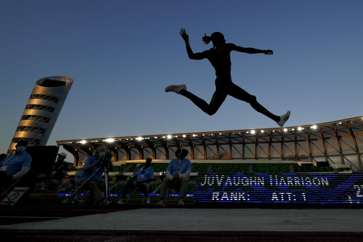 FILE - In this June 27, 2021, file photo, JuVaughn Harrison competes during the finals of the men's long jump at the U.S. Olympic Track and Field Trials in Eugene, Ore. Harrison will compete at the Tokyo Games in the long jump and the high jump. Not since the days of Jim Thorpe in 1912 has an American man made the team in those two events at one Olympics. (AP Photo/Charlie Riedel, File)