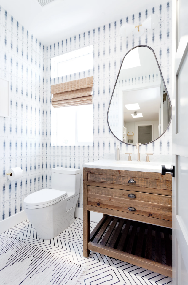 "<p>While this much pattern might feel a bit much for your master bath, it's totally fun in a powder room. Contrast your floor and your wall so it doesn't feel too matchy-matchy.</p><p>See more at <a rel=""nofollow"" href=""https://www.veneerdesigns.com/malibu"">Veneer Designs</a>.</p>"