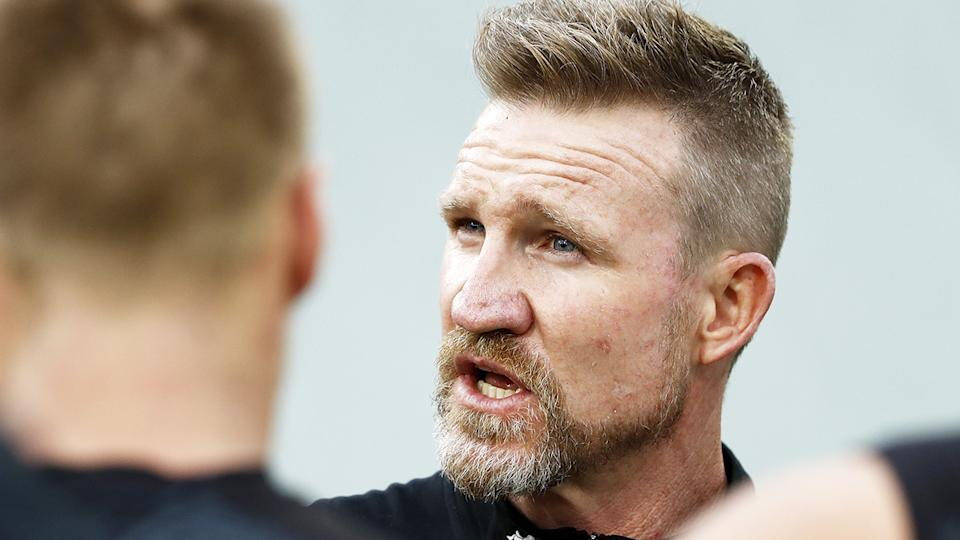 Nathan Buckley has been urged to give Magpies players more freedom for pursue a free-flowing style after last weekend's dour affair against Geelong. (Photo by Dylan Burns/AFL Photos via Getty Images)