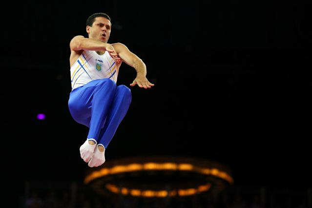 LONDON, ENGLAND - AUGUST 03: Yuriy Nikitin of Ukraine competes on the Men's Trampoline during Day 7 of the London 2012 Olympic Games at North Greenwich Arena on August 3, 2012 in London, England. (Photo by Cameron Spencer/Getty Images)