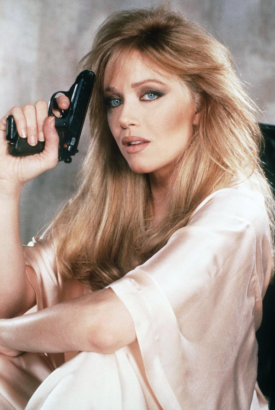 "Actress Tanya Roberts on the set of ""View To Kill"". (Photo by Sunset Boulevard/Corbis via Getty Images)"