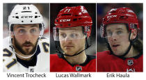 FILE - From left are file photos showing Vincent Trocheck, Lucas Wallmark and Erik Haula. The Carolina Panthers traded Vincent Trocheck to the Carolina Hurricanes for Erik Haula, Lucas Wallmark and prospects Chase Priskie and Eetu Luostarinen, Monday, Feb. 24, 2020. (AP Photo/File