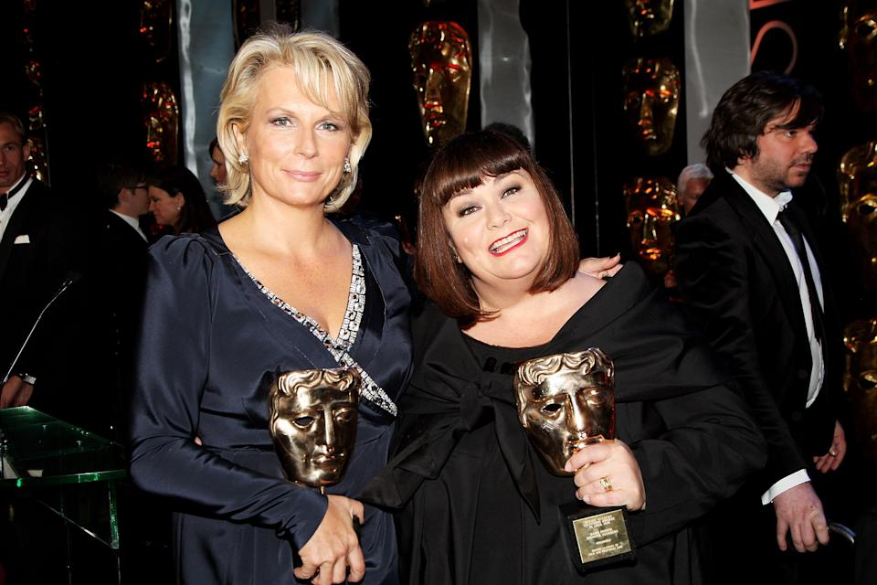 LONDON - APRIL 26: Jennifer Saunders and Dawn French pose in the press room at the BAFTA Television Awards 2009 held at The Royal Festival Hall, Southbank Centre on April 26, 2009 in London, England. (Photo by Dave Hogan/Getty Images)
