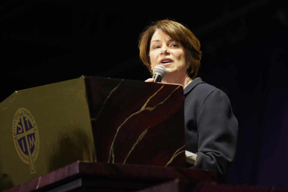 Sen. Amy Klobuchar, D-Minn., speaks during funeral services of Daunte Wright at Shiloh Temple International Ministries in Minneapolis, Thursday, April 22, 2021. Wright, 20, was fatally shot by a Brooklyn Center, Minn., police officer during a traffic stop. (AP Photo/John Minchillo, Pool)