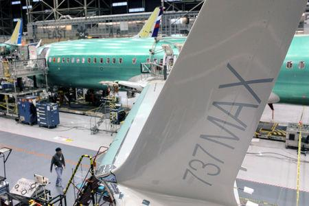 FILE PHOTO: A wing of the Boeing 737 MAX is pictured during a media tour of the Boeing 737 MAX at the Boeing plant in Renton, Washington December 7, 2015. Picture taken December 7, 2015. REUTERS/Matt Mills McKnight/File Photo