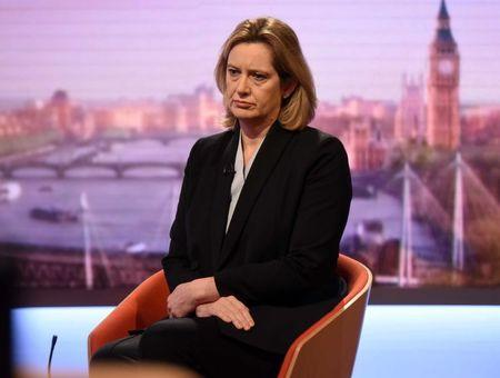 Britain's Home Secretary Amber Rudd is seen appearing on the BBC's Andrew Marr Show in this photograph received via the BBC in London