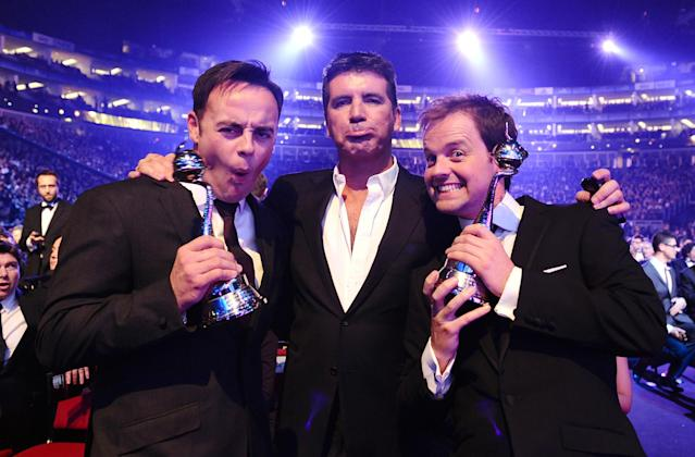 Anthony McPartlin, Simon Cowell and Declan Donnelly during the National Television Awards 2010 (Credit: PA Images)