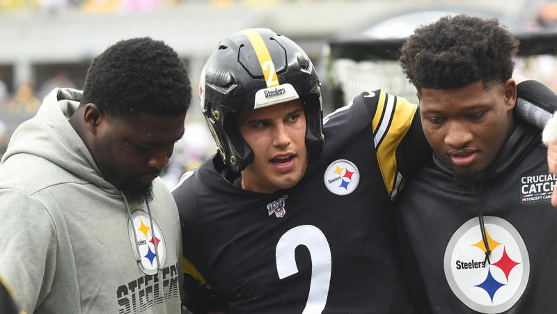 Steelers quarterback Mason Rudolph was knocked unconscious and hospitalised after taking a hit during their game against the Ravens on Sunday. (Reuters)