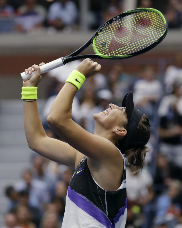 Belinda Bencic, of Switzerland, reacts after defeating Naomi Osaka, of Japan, 7-5, 6-4 during the fourth round of the US Open tennis championships Monday, Sept. 2, 2019, in New York. (AP Photo/Frank Franklin II)