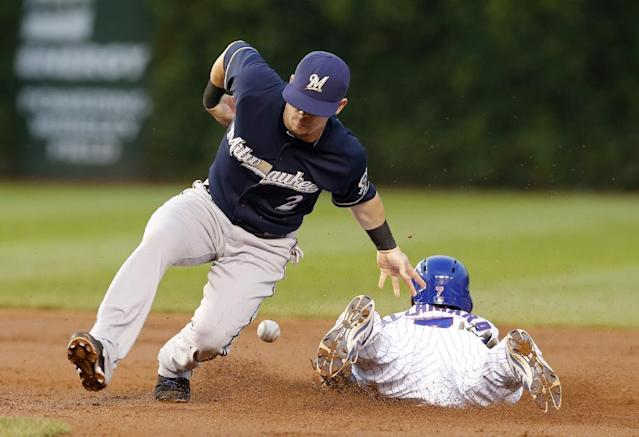 Chicago Cubs' Arismendy Alcantara, right, steals second as Milwaukee Brewers second baseman Scooter Gennett is unable to hold onto the ball and his glove on a throw from catcher Jonathan Lucroy, during the second inning of a baseball game Tuesday, Aug. 12, 2014, in Chicago. (AP Photo/Charles Rex Arbogast)
