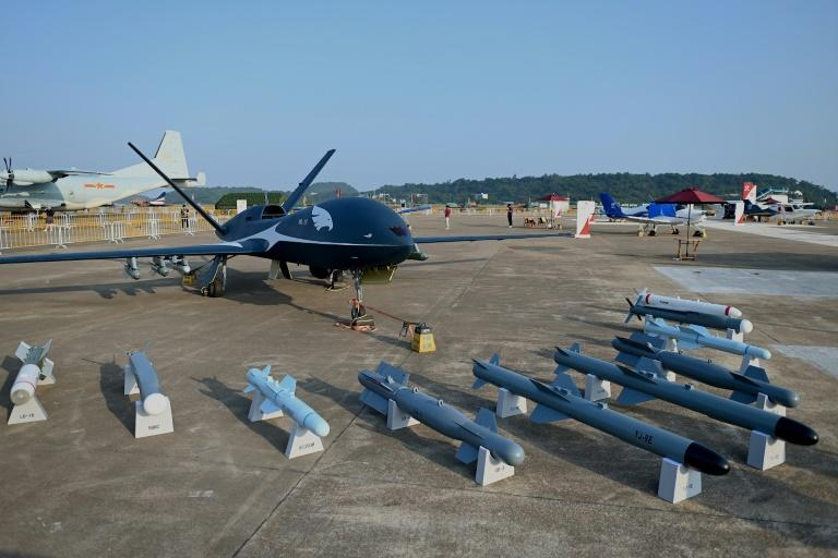 China showcased its new air power at Zhuhai, with a range of drones on display including the WL-10 (AFP/Noel Celis)