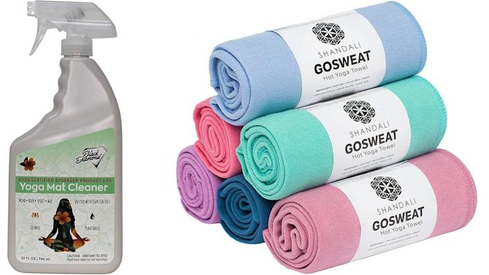Best health and fitness gifts 2021: Black Diamond Yoga Mat Cleaner and Shandali Hot Yoga Towels