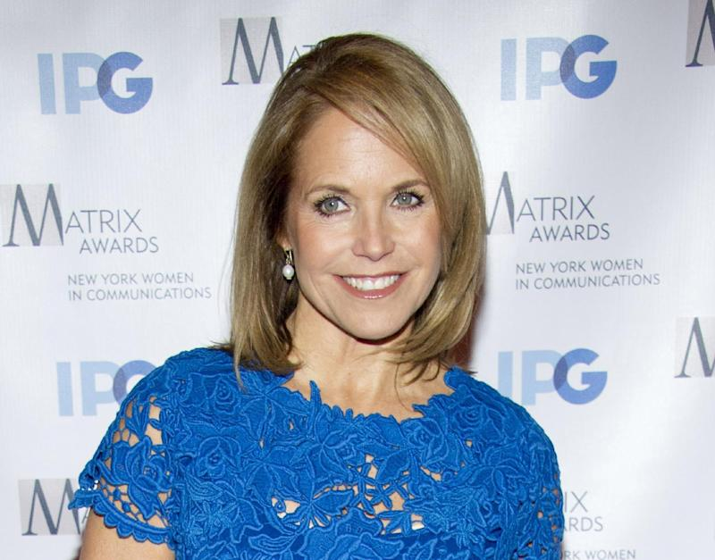 """FILE - In this April 23, 2012 file photo, Katie Couric arrives to the Matrix Awards in New York. Couric is launching a weekly Web series for Yahoo and ABC News in which she will discuss health, nutrition, parenting and wellness isues. The series, """"Katie's Take,"""" will premiere Tuesday. Yahoo is to formally unveil the show Wednesday, April 25, at a presentation to advertisers in New York.  (AP Photo/Charles Sykes, file)"""