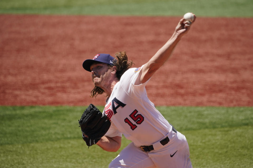 United States' Scott Kazmir pitches in the second inning of a baseball game against the Dominican Republic at the 2020 Summer Olympics, Wednesday, Aug. 4, 2021, in Yokohama, Japan. (AP Photo/Sue Ogrocki)