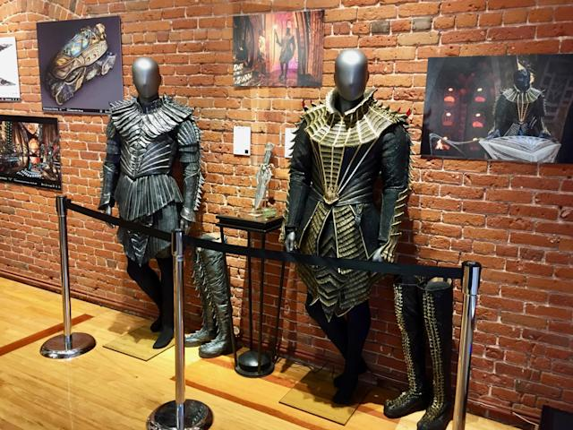 <p>The armor on the right is worn by T'Kuvma (Chris Obi), who seeks to unite the 24 great Klingon houses to halt the encroachment of others. His elaborate garb honors ancient Klingon ways (and includes claw-like Swarovski crystals and vintage lace around the collar). (Photo: Marcus Errico/Yahoo TV) </p>