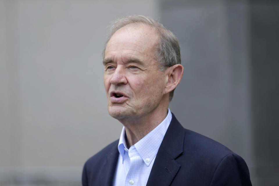 Attorney David Boies speaks to reporters in front of federal court in New York, Monday, July 8, 2019. Eleven years after letting Jeffrey Epstein off lightly with a once-secret plea deal, the U.S. government is taking another run at putting the wealthy sex offender behind bars with new sex-trafficking charges that law enforcement officials say involve allegations dating to the early 2000s. Boies is representing some of the alleged victims. (AP Photo/Seth Wenig)